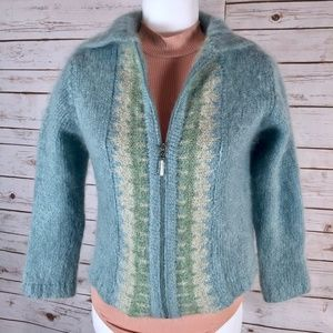Margaret O'Leary cardigan zip front mohair blend M